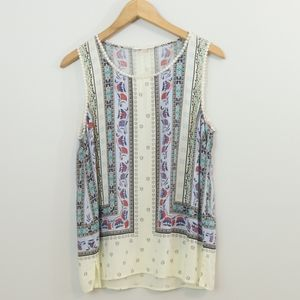 Skies Are Blue Printed Crochet Lace Top